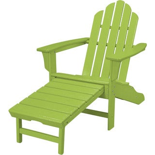 Hanover Outdoor HVLNA15LI Lime HDPE All Weather Contoured Adirondack Chair  And Hideaway Ottoman