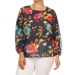 MOA Collection Women's Plus Size Floral Polyester Chiffon Tunic Top