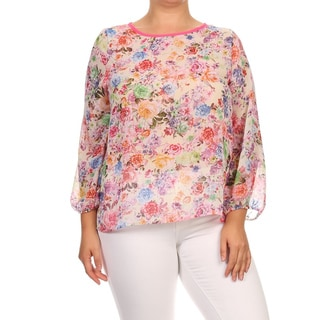 MOA Collection Women's Plus Size Chiffon Floral Top