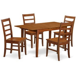 Natural Finish Brown Rubberwood 5-piece Kitchen Dinette Set