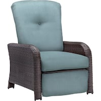 Hanover Outdoor Ocean Blue Steel and Resin Strathmere Luxury Recliner