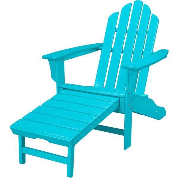 Hanover Outdoor HVLNA15AR Aruba All Weather Contoured Adirondack Chair With  Hideaway Ottoman
