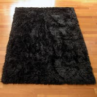 Classic Black Bear Faux Fur Rectangle Rug - 3'3 x 4'7