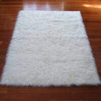 Snowy White Polar Bear Rectangular White Sheepskin Faux Fur Rug - 3'3 x 4'7