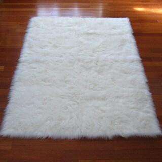 Snowy White Polar Bear Rectangular White Sheepskin Faux Fur Rug - 3'3 x 4'7