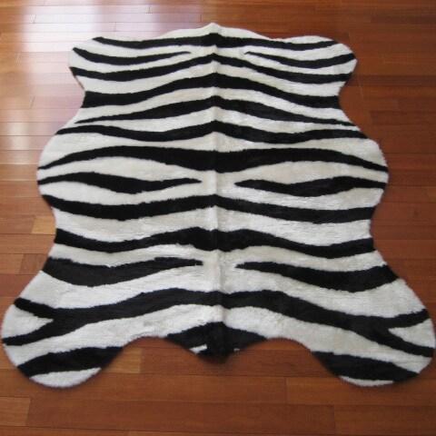 Black and White Acrylic Faux Zebra Skin Rug