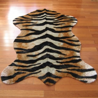 Walk on Me Tiger Faux Fur/ Faux Sheepskin Machine Washable Area Rug
