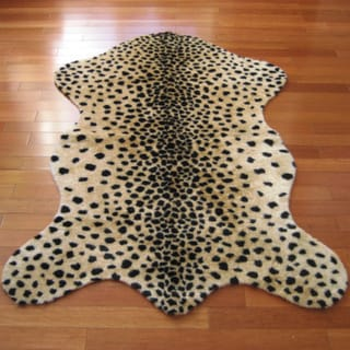 White/Black/Gold Acrylic and Polyester Faux Cheetah Pelt Rug
