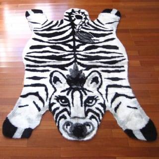 "Black/White/Grey Zebra Print Acrylic and Polyester Playmat Rug (3'3 x 4'7) - 3'3"" x 4'7"""
