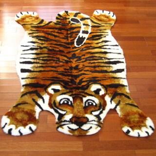 Orange/White/Black Acrylic/Polyester Tiger Playmat Rug (3'3 x 4'7)