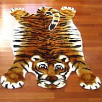 Orange/White/Black Acrylic/Polyester Tiger Playmat Rug - 3'3 x 4'7