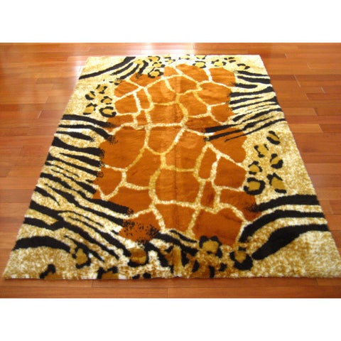 Black/Orange/White Faux-fur Safari Kenya Rectangle Rug (3'3 x 4'7)