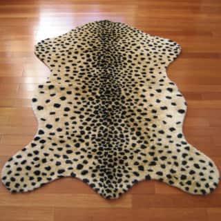 Walk on Me Cheetah Faux Fur/ Faux Sheepskin Machine Washable Area Rug