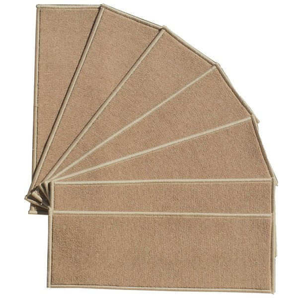 Berrnour Home Beige 9 Inch X 31 Inch Skid Resistant Rubber Backing Stair