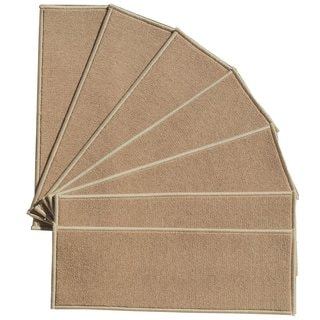 Berrnour Home Beige 9-inch x 31-inch Skid-resistant Rubber Backing Stair Treads (Pack of 7)