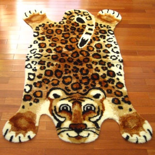 Multicolored Acrylic Animal-themed Leopard Playmat Rug (4'7 x 6'7)