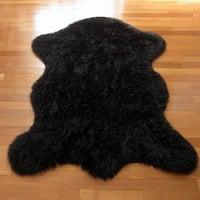 Classic Bear Pelt Black Acrylic Faux Fur Rug - 4'7 x 6'7