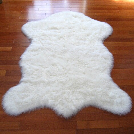 Snowy White Faux Polar Bear Pelt Sheepskin Rug