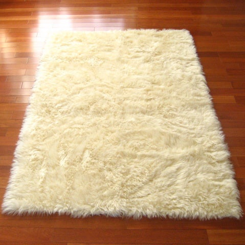 Ivory Classic Sheepskin Faux Fur Rectangle Rug