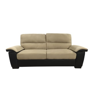 Classic Soft Microfiber and Bonded Leather Sofa