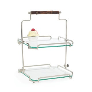 Hip Vintage Clear Glass Bamboo Handle 2-tier Stand
