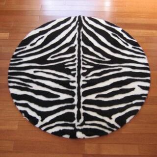 Faux Zebra Skin Narrow Stripe Round Rug (4'7)