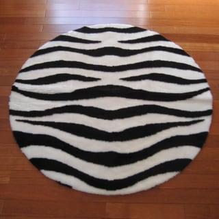 Faux Zebra Skin Round Rug (4'7 Round)