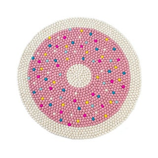 'Happy as Larry' Doughnut Multicolored Felt Ball Rug (3'4 Round)