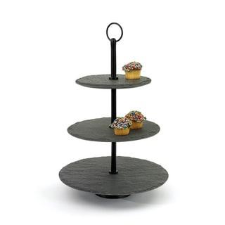 Hip Vintage Black Stoneware Round Slate Fruit Stand