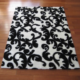 Contemporary Black/White Flourish Rug (4'7 x 6'7)