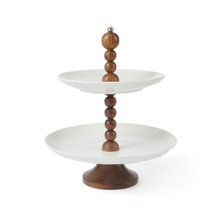 Hip Vintage Bezos White/Brown Wood 2-tier Stand