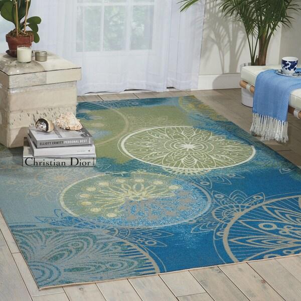 Nourison Home and Garden Blue Indoor/ Outdoor Area Rug - 10' x 13'