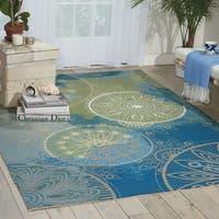 Nourison Home and Garden Blue Indoor/ Outdoor Area Rug (10' x 13') - 10' x 13'