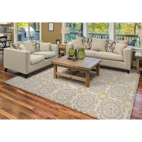 KAS Silver/Gold Polyester/Cotton Medallion Rug