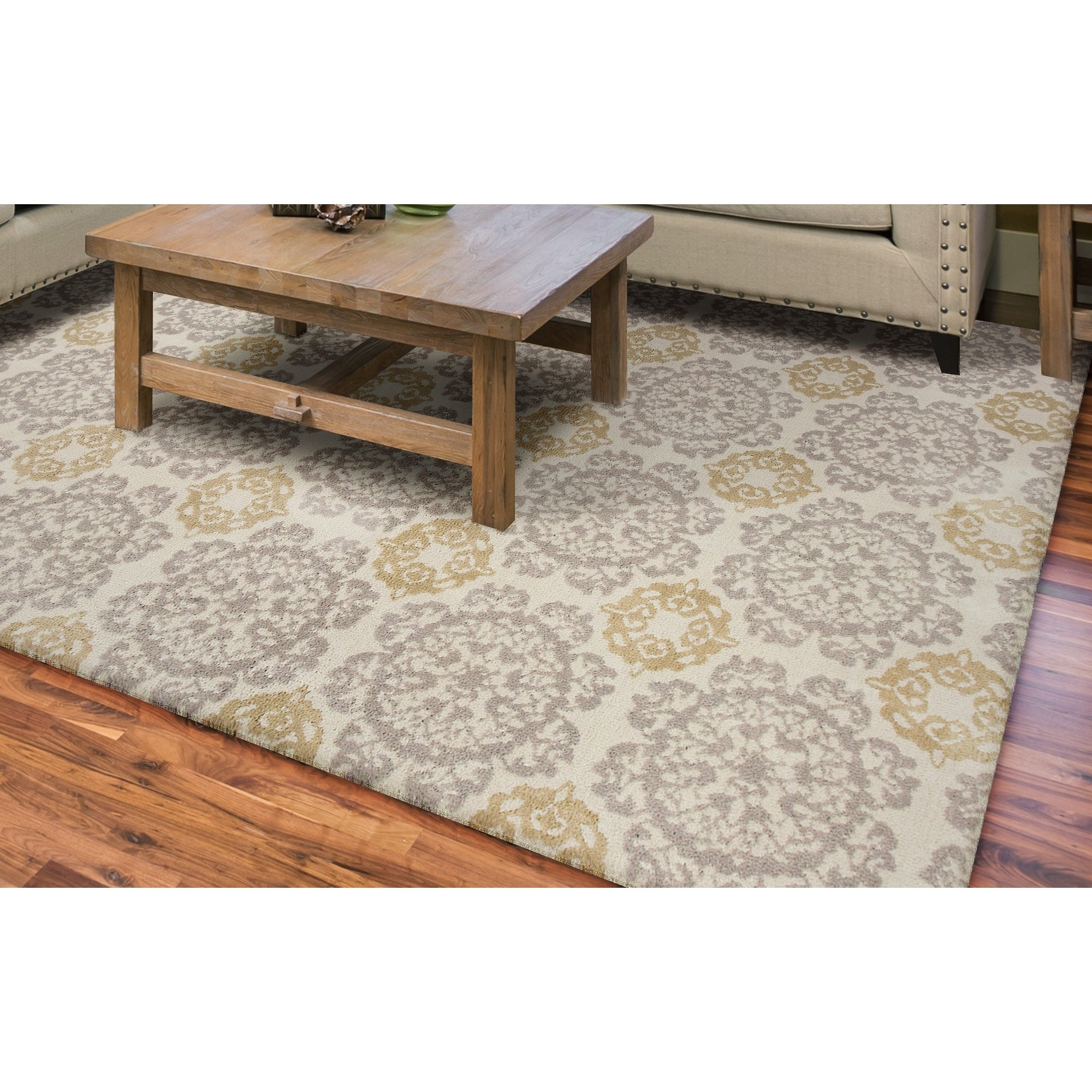 KAS Silver/Gold Cotton and Polyester Medallion Rug (5' x ...