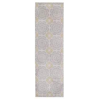 KAS Silver/Gold Cotton/Polyester Medallion Runner Rug (2'3 x 7'6)