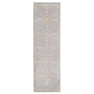 KAS Silver/Gold Cotton/Polyester Medallion Runner Rug (2'3 x 7'6)
