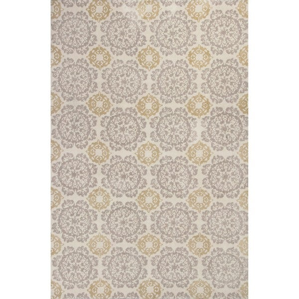 KAS Silver/Gold Cotton/Polyester Medallion Runner Rug - 2'3 x 7'6