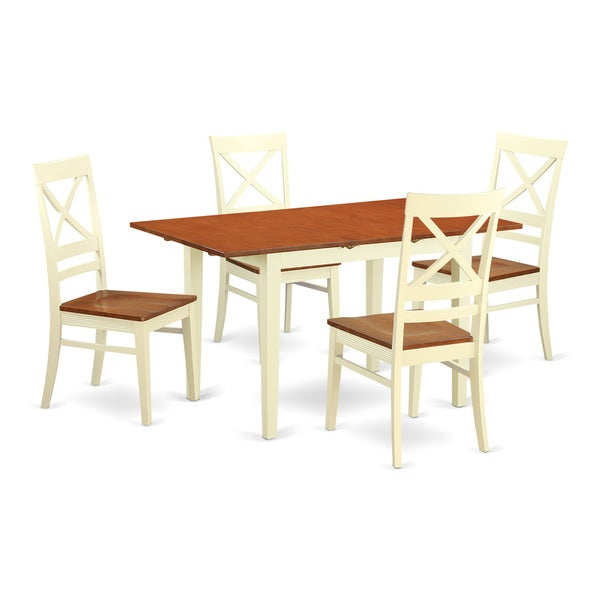Small Kitchen Table And 4: NOQU5-WHI-W 5-piece Small Kitchen Table Set