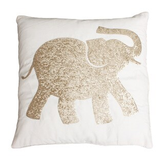 Elazar Elephant Sequined Feather Filled Pillow