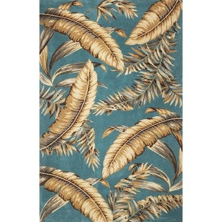 KAS Sparta 3196 Teal Wool/Cotton Ferns Round Rug (7'6 Diameter)