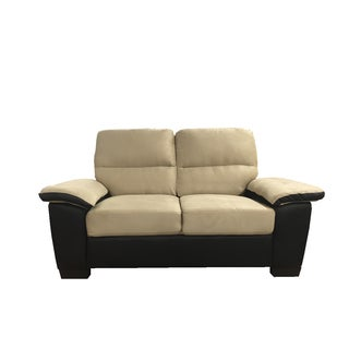 Classic Soft Microfiber and Bonded Leather Loveseat