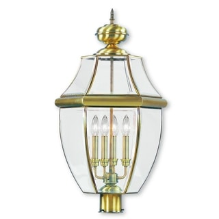 Livex Lighting Monterey Antique Brass/Glass 4-light Outdoor Post Lantern