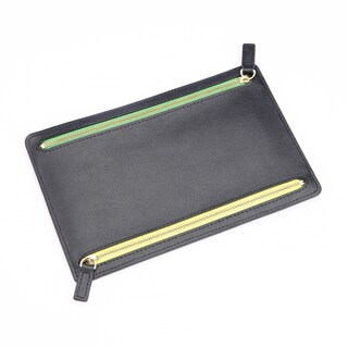 Royce Leather RFID-blocking Zippered Currency and Travel Document Organizer Pouch