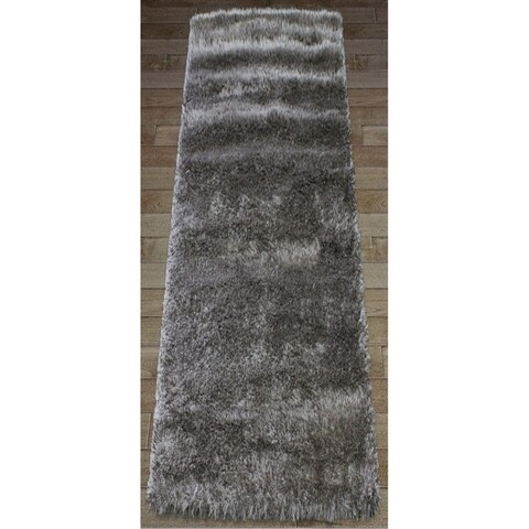 Shaw Bling Collection Grey Nylon and Polyester Super Shag Runner Rug (2' x 6') - 2' x 6'