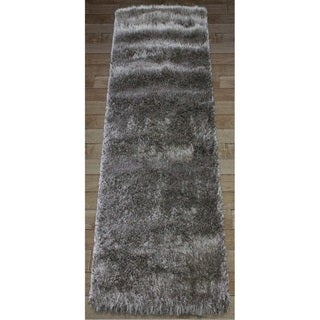 Shaw Bling Collection Grey Nylon and Polyester Super Shag Runner Rug (2' x 6')