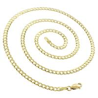 """14k Yellow Gold 3.5mm Solid Cuban Curb Link Necklace Chain 18"""" - 24"""""""