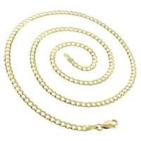 "14k Yellow Gold 3.5mm Solid Cuban Curb Link Necklace Chain 18"" - 24"""