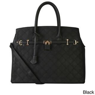 Diophy Vegan Leather Saffiano Front-lock Quilted Large Satchel Handbag