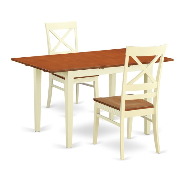 Contemporary off white and cherry finish wood 3 piece for White and wood dining table and chairs